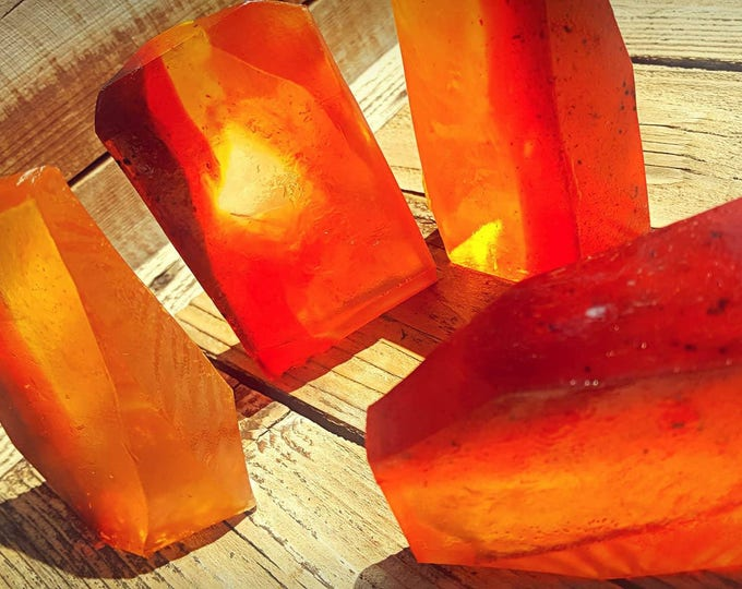 """Featured listing image: Fire and Brimstone """"Amber""""  Crystal Soap"""