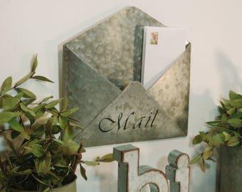 Galvanized metal envelope, Office Decor, Farmhouse office, Farmhouse mail station, Mail pocket, Wall pocket, Secretaries day gift,