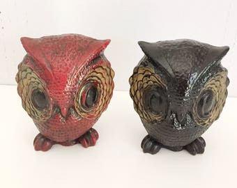 Vintage Plaster Pair of Mid Century Owls Bookends