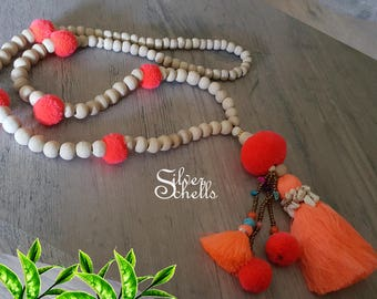 Romantic Playful Pom Pom Tassel Hippie Boho Chic Long Sea Shell Bead Orange Necklace
