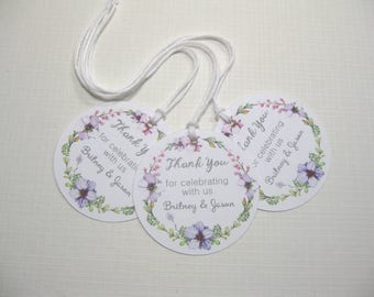 10 Personalized Wedding Tags for Favors  Bridal Shower Tags for Favors  Round Wedding Tags for Favors  purple white tags  lavender tags