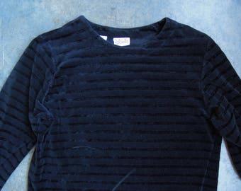 90's Black Velour Velvet Striped Pullover Sweater or Top  Size Medium Large