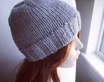Gray Solid Gender Neutral Variegated Hat, hand knit