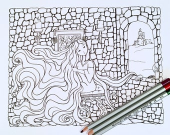 Kids Adult Coloring Page Activity Rapunzel Fairy Tale Art