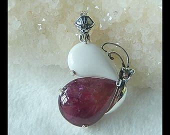 New Arrival!!! Sterling Silver 925 Tourmaline And White Agate pendant,28x21x9mm,8.7g(f0782)