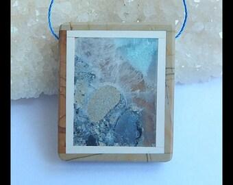 Amazonite,Picture Jasper,White agate Intarsia Pendant Bead,37x31x6mm,17.7g(h0360)