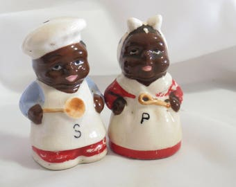 Vintage Black Americana Chef Salt and Pepper Shakers Mammy and Uncle Moses
