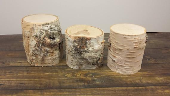 White birch pillars natural wood blocks candle risers for White birch log crafts