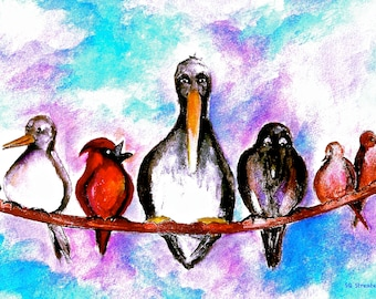 """Birds on a Wire-Whimsical Bird Art Print by SQ Streater-8.5""""x10.5""""-Free Shipping"""