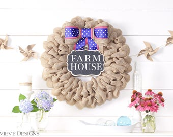 Spring Wreaths for Front Door Wreaths, Easter Wreath Burlap Farmhouse Wreath, Cute Spring Decorations