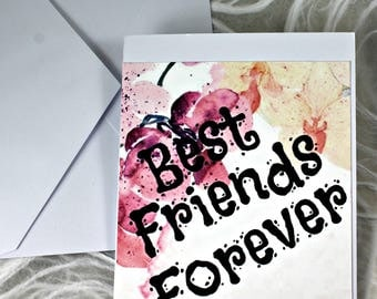 C 104 Best Friends Blank Note Card Greeting Card Handmade Paper Card