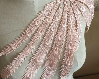 Pink Venice Lace Appliques Peacock Tail Embroidered Collar For Wedding Supplies Bridal Veil 1 Pcs