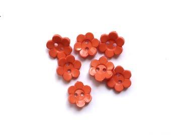 7 Orange Flowers Shaped Plastic Buttons, 13mm