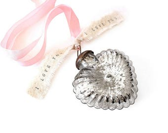 Vintage Wedding Decor Style Mercury Glass Heart Ornament mercury glass wedding decor vintage