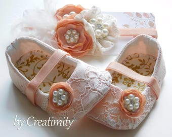 Lace Flower Girl Shoes Christening Shoes Baptism Shoes Ballet Shoes Bridal Flats Wedding Shoes Wedding Flats Baby Shower Baby Gift