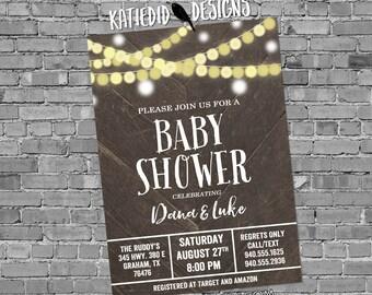 String light Barn wood Barnwood Baby shower invitation lights sting lights reclaimed neutral gender reveal bridal coed 12127 rustic