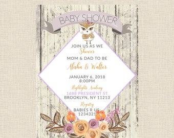 Rustic Owl/Floral Baby Shower Invitation