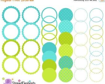40% OFF SALE Blue and Lime Digital Frames - Clip Art Frames - Instant Download - Commercial Use