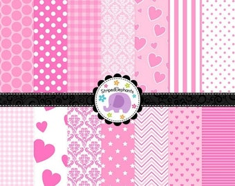 40% OFF SALE Digital Paper - Baby Pink Digital Paper Pack - Instant Download - Commercial Use