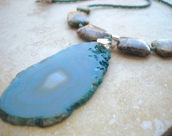 Earthy teal agate slice necklace: For Gaia | Geode slice necklace | Teal necklace | Statement necklace | Agate slice | Boho necklace | Teal