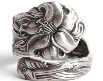 Petite Stargazer Lily Ring, Sterling Silver Spoon Ring, Tiger Lily, Frontenac Victorian, Floral Ring, Gift For Her, Custom Ring, Small, 6746