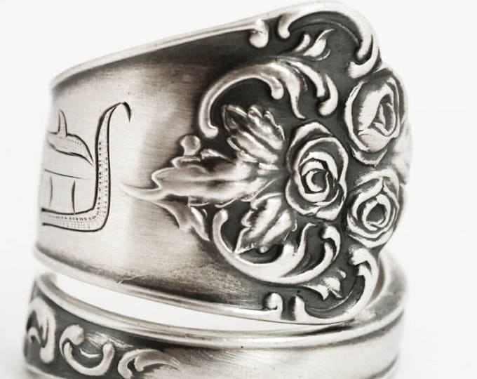 Victorian Rose Ring, Sterling Silver Spoon Ring, Handmade Silver Gift for Her, Antique Wendell ca 1895, Engraved D, Custom Ring Size (6901)