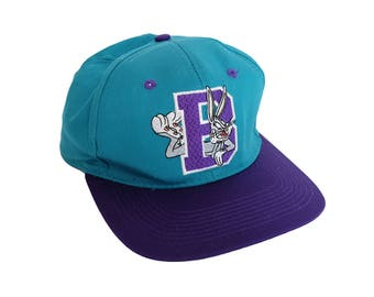 Vintage Bugs Bunny Looney Tunes Capital B Teal & Purple 90's Snapback Hat