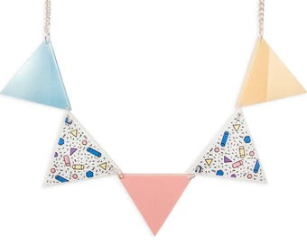 Colorful Pastels Triangle Garland Statement Necklace - 80's 90's Memphis Style Pink Blue White Peach Pattern Retro Rad Perspex Laser Cut