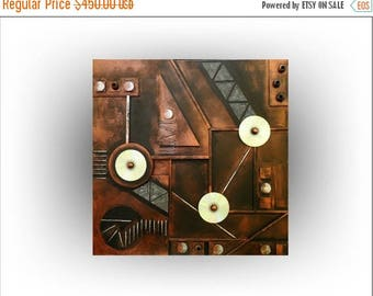 ON SALE Metallic Copper Acrylic Abstract 3D Wall Decor Office Original  Wall Art - Copperline No.3 - 30 x 30 - Skye Taylor
