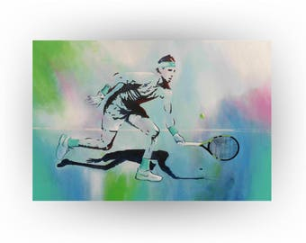 Rafael Nadal Tennis painting Abstract Original Painting Turquoise Acrylic Wall Art Home Decor Office Sports painting 24 x 36 by Skye Taylor