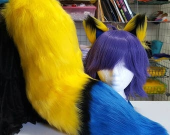 Three Tone Canary Yellow and Coblat Blue Fox Tail with Matching Ears Set