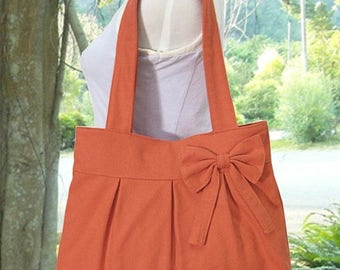 On Sale 20% off orange cotton fabric purse with bow / canvas tote bag / shoulder bag / hand bag / diaper bag - zipper closure