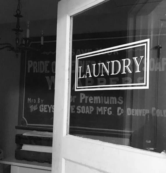 Laundry Vinyl Decal Laundry Room Decal Laundry Door Decal - Vinyl stickers for glass doors