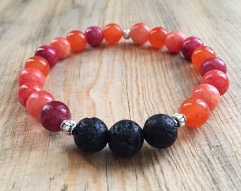 Red Multicolored Assorted Stones Essential Oil Diffuser Bead Bracelet