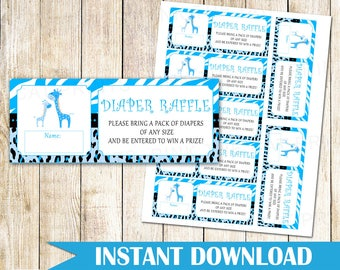 Giraffe Baby Shower Diaper Raffle Card Giraffe Diaper Raffle Game Giraffe Raffle Game For Baby Shower Jungle Diapper Raffle INSTANT DOWNLOAD