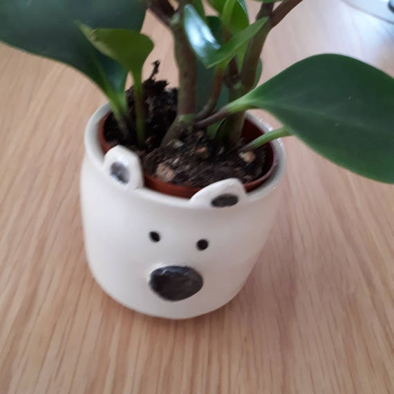 Pottery Polar Bear  planter small bowl cup catch all animal sculpture perfect for airplants or succulents ON SALE  gift
