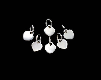 6 of 925 Sterling Silver Heart Charms 6x7 mm. :tk0177
