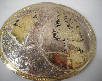 Large Montana Silversmith Rodeo Western Wolf Belt Buckle Sterling Silver Plated FREE SHIPPING