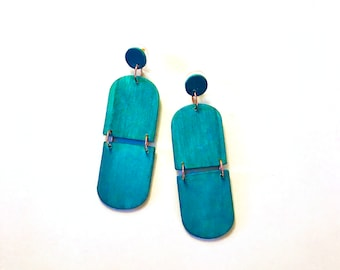Teal Wooden Earrings