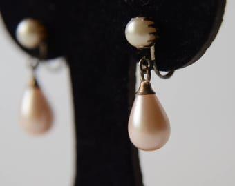 Vintage Pearl Drop Earrings Screw Back Prong Setting - B4C-P-5