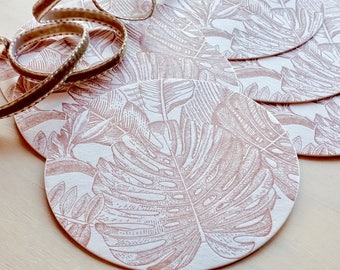 Tropical paradise coasters table decorations, coctail dinner party, monstera leaves, tropical leaves wedding decor, coctail party decoration