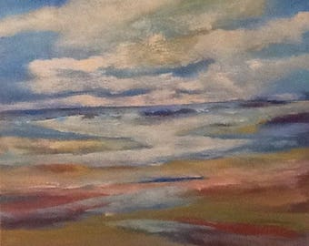 StormySea semi-abstract textured painting 30x24