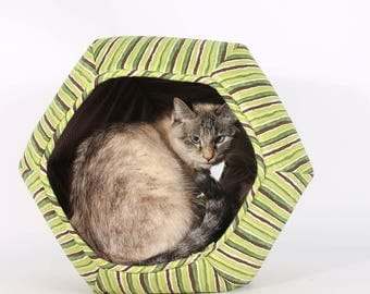 Cat Bed in Green Stripes cotton fabric  - The Cat Ball modern cat bed with two openings