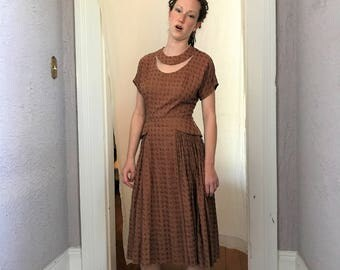 50's Vintage Classic Paul Sachs day dress hourglass full skirt sm