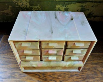 Akro Mils Acrylic 10 Drawer Storage Cabinet / Akro Mils PM-15 Cabinet / Marbled Plastic Storage Organizer / Craft Sewing Organizer Cabinet