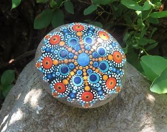 Hand painted mandala stone