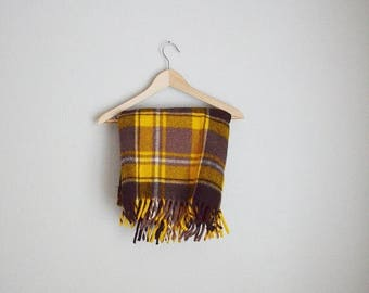 "Summer SALE - 20% off - vintage faribo yellow brown plaid wool fringe stadium picnic blanket -- 48"" by 48"""