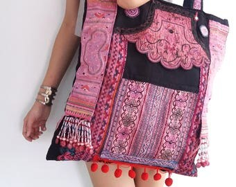XL Oversize Hmong Old Vintage Style Unique Ethnic Thai Asain Old Heavy Embroidered  HandBag