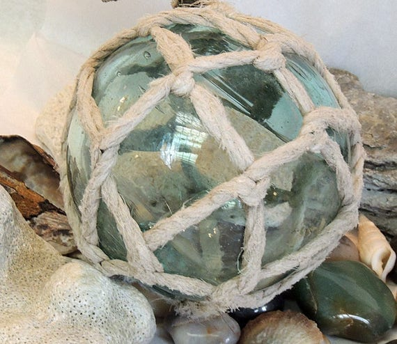 "Vintage 14"" In Circumference Japanese GLASS FISHING FLOAT.. Full Net, Pale Blue & Bubbles (# 46)"