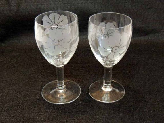 Pair Of Vintage Etched Floral Crystal WINE GOBLETS